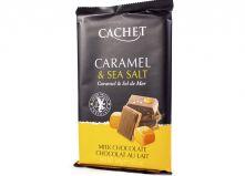 Шоколад CACHET молочный с карамелью и морской солью   300 г