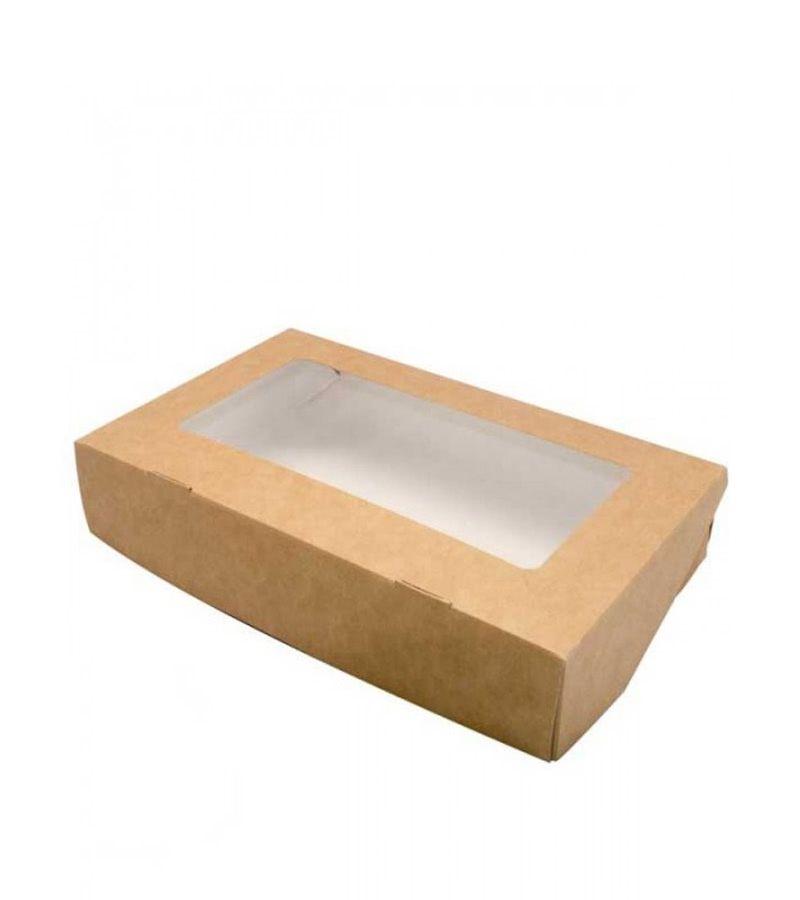 Крафтовая коробка с прозрачной крышкой 400*250*100
